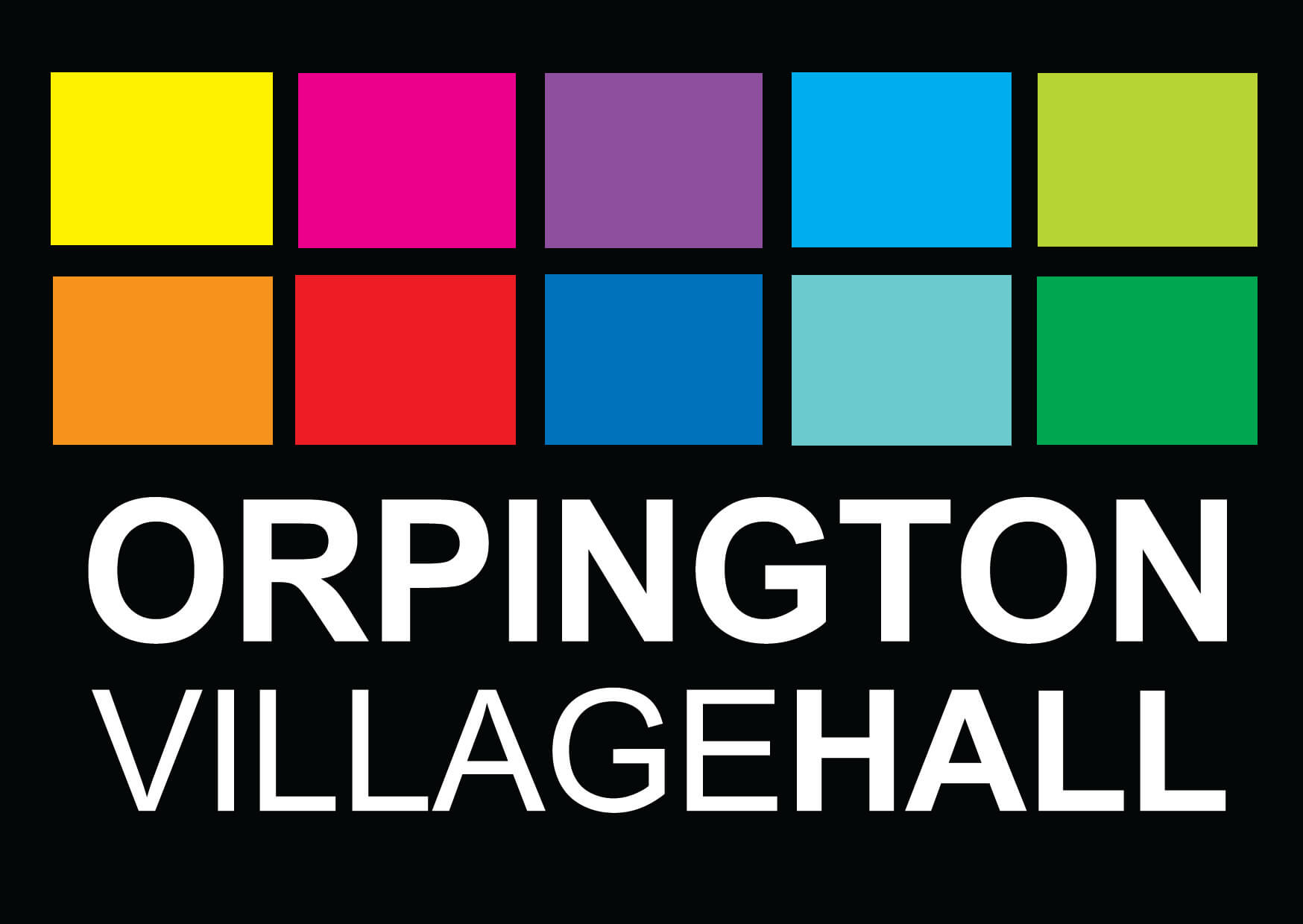 Orpington Village Hall multi coloured logo on black background