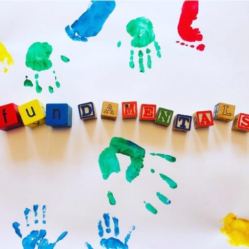 Coloured hand and footprints in paint