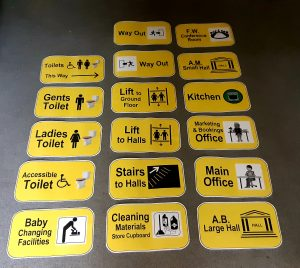 Yellow typographic and figurative signage